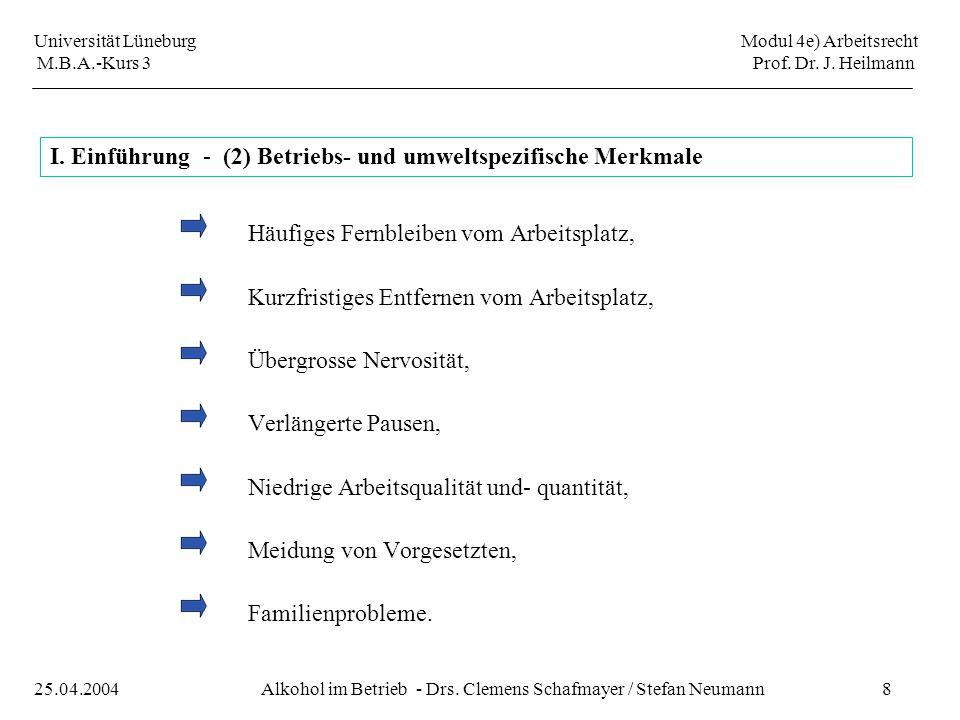 Universität Lüneburg Modul 4e) Arbeitsrecht M.B.A.-Kurs 3 Prof. Dr. J. Heilmann 8Alkohol im Betrieb - Drs. Clemens Schafmayer / Stefan Neumann25.04.20