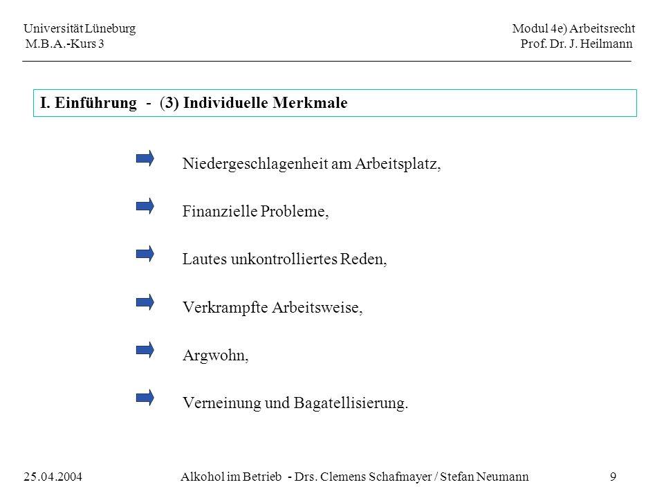 Universität Lüneburg Modul 4e) Arbeitsrecht M.B.A.-Kurs 3 Prof. Dr. J. Heilmann 9Alkohol im Betrieb - Drs. Clemens Schafmayer / Stefan Neumann25.04.20