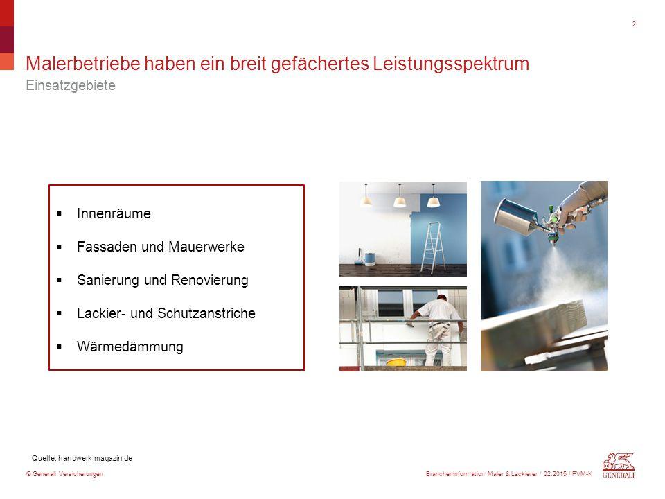 © Generali Versicherungen Malerbetriebe haben ein breit gefächertes Leistungsspektrum Einsatzgebiete 2 Quelle: handwerk-magazin.de  Innenräume  Fass
