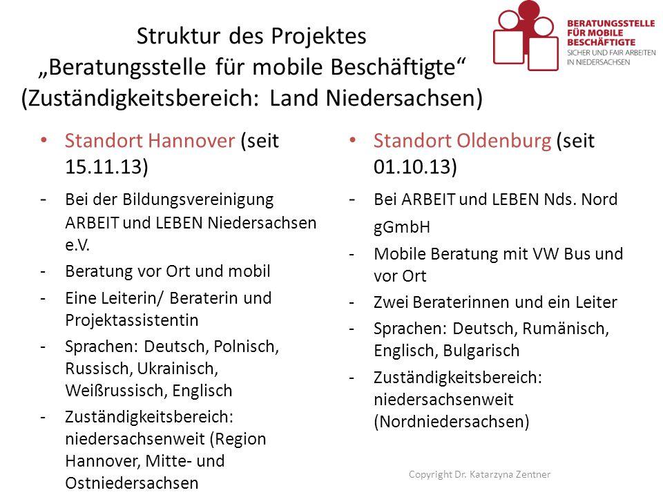"""Struktur des Projektes """"Beratungsstelle für mobile Beschäftigte"""" (Zuständigkeitsbereich: Land Niedersachsen) Standort Hannover (seit 15.11.13) - Bei d"""