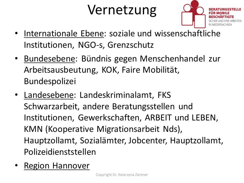 Vernetzung Internationale Ebene: soziale und wissenschaftliche Institutionen, NGO-s, Grenzschutz Bundesebene: Bündnis gegen Menschenhandel zur Arbeits