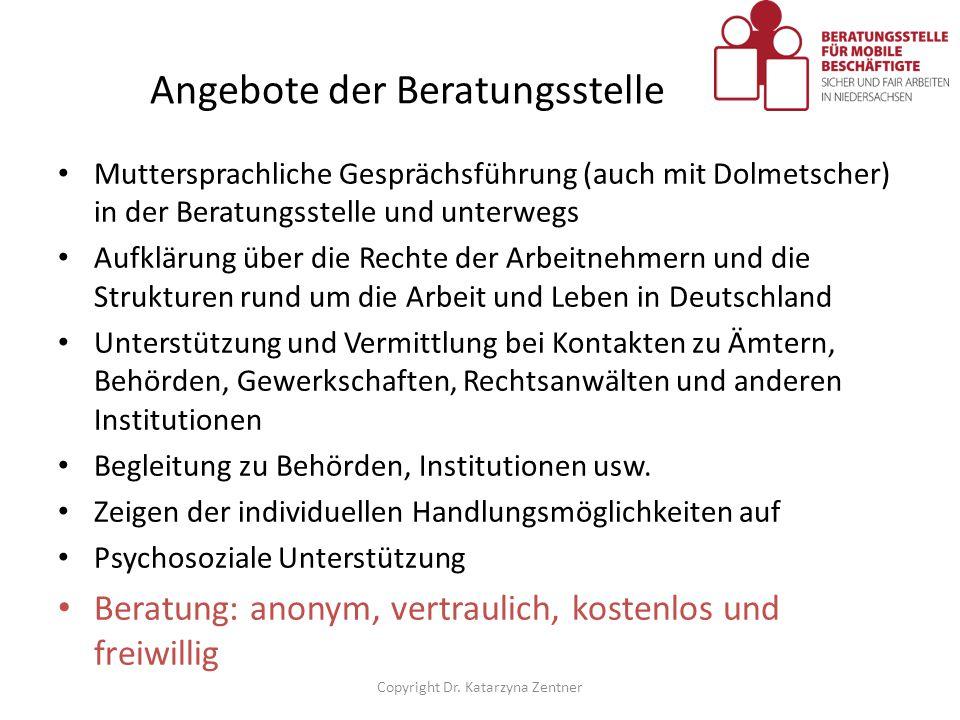 Angebote der Beratungsstelle Muttersprachliche Gesprächsführung (auch mit Dolmetscher) in der Beratungsstelle und unterwegs Aufklärung über die Rechte