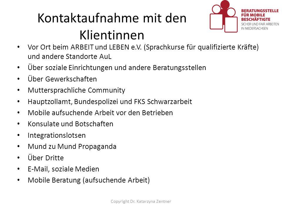 Kontaktaufnahme mit den Klientinnen Vor Ort beim ARBEIT und LEBEN e.V. (Sprachkurse für qualifizierte Kräfte) und andere Standorte AuL Über soziale Ei