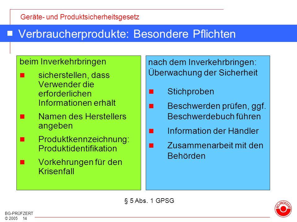 Geräte- und Produktsicherheitsgesetz BG-PRÜFZERT © 2005 14 Verbraucherprodukte: Besondere Pflichten beim Inverkehrbringen sicherstellen, dass Verwende