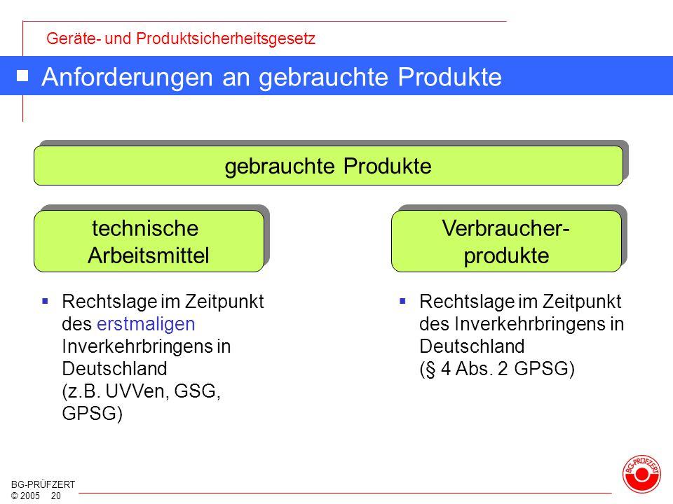Geräte- und Produktsicherheitsgesetz BG-PRÜFZERT © 2005 20 Anforderungen an gebrauchte Produkte gebrauchte Produkte technische Arbeitsmittel Verbrauch