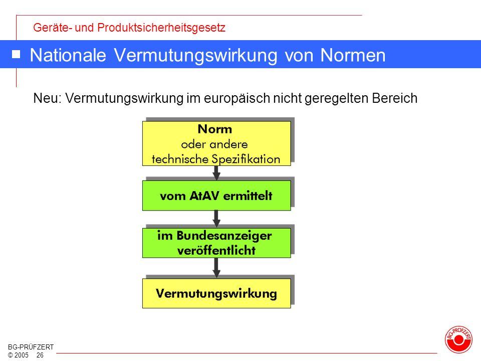 Geräte- und Produktsicherheitsgesetz BG-PRÜFZERT © 2005 26 Nationale Vermutungswirkung von Normen Neu: Vermutungswirkung im europäisch nicht geregelte