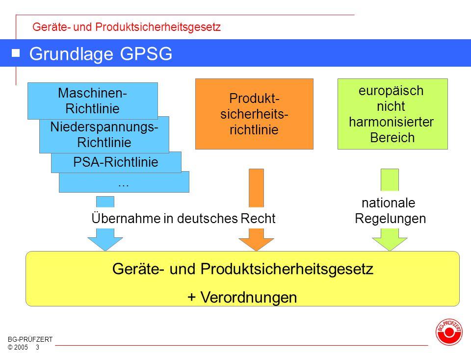 Geräte- und Produktsicherheitsgesetz BG-PRÜFZERT © 2005 3... PSA-Richtlinie Niederspannungs- Richtlinie Grundlage GPSG Produkt- sicherheits- richtlini