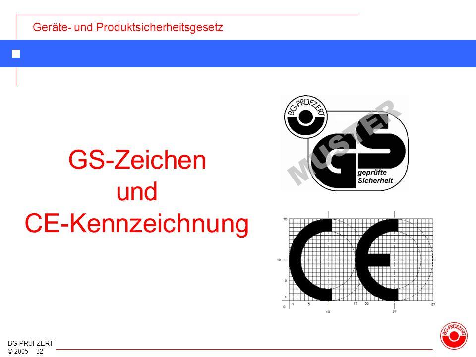 Geräte- und Produktsicherheitsgesetz BG-PRÜFZERT © 2005 32 GS-Zeichen und CE-Kennzeichnung