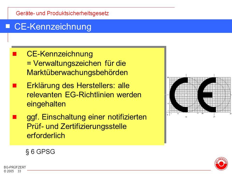 Geräte- und Produktsicherheitsgesetz BG-PRÜFZERT © 2005 33 CE-Kennzeichnung CE-Kennzeichnung = Verwaltungszeichen für die Marktüberwachungsbehörden Er