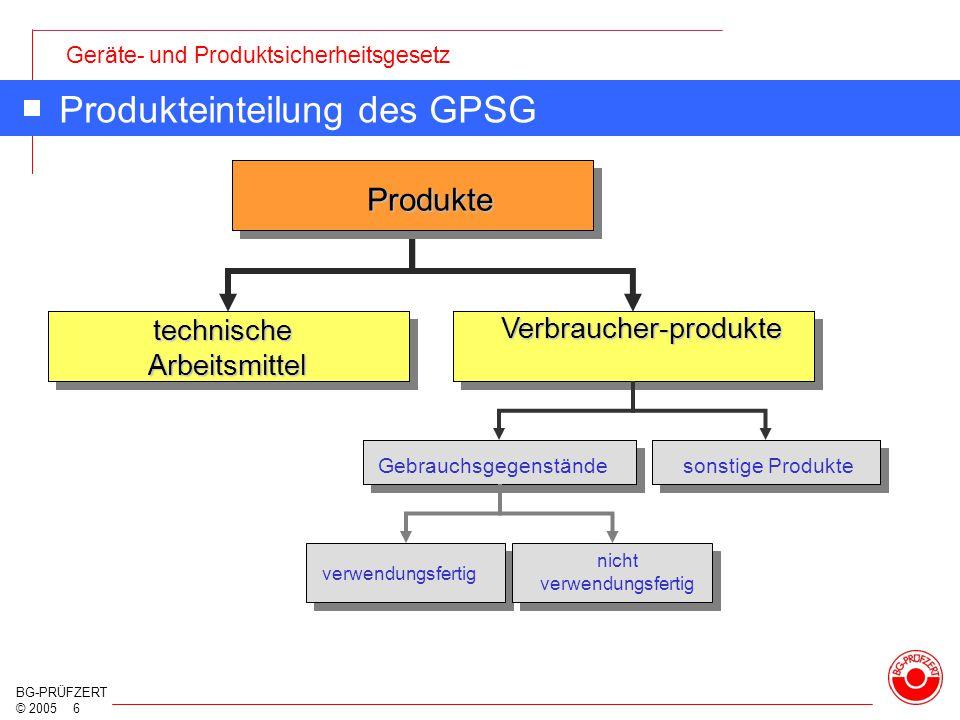 Geräte- und Produktsicherheitsgesetz BG-PRÜFZERT © 2005 6 Produkteinteilung des GPSG sonstige Produkte Produkte technische Arbeitsmittel Verbraucher-p