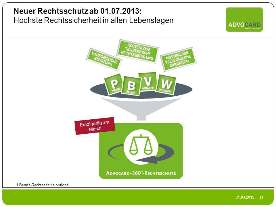 31.03.2015 11 Neuer Rechtsschutz ab 01.07.2013: Höchste Rechtssicherheit in allen Lebenslagen 1 Berufs-Rechtsschutz optional 1) Einzigartig am Markt!
