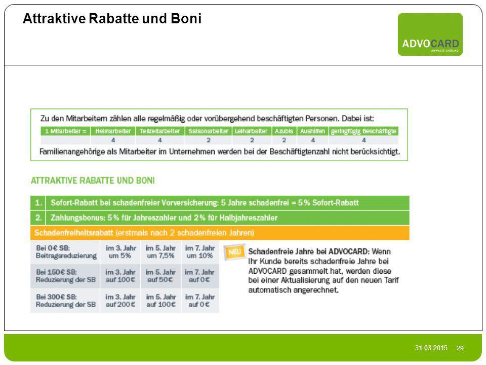 31.03.2015 29 Attraktive Rabatte und Boni
