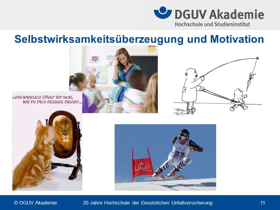 Selbstwirksamkeitsüberzeugung und Motivation © DGUV Akademie 20 Jahre Hochschule der Gesetzlichen Unfallversicherung 11