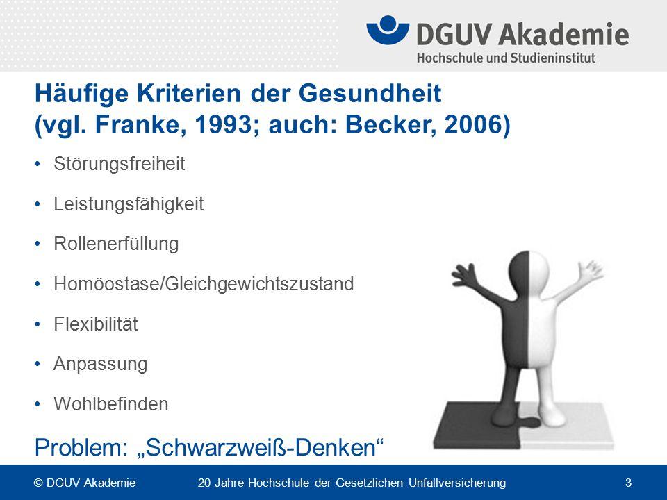 Häufige Kriterien der Gesundheit (vgl. Franke, 1993; auch: Becker, 2006) Störungsfreiheit Leistungsfähigkeit Rollenerfüllung Homöostase/Gleichgewichts