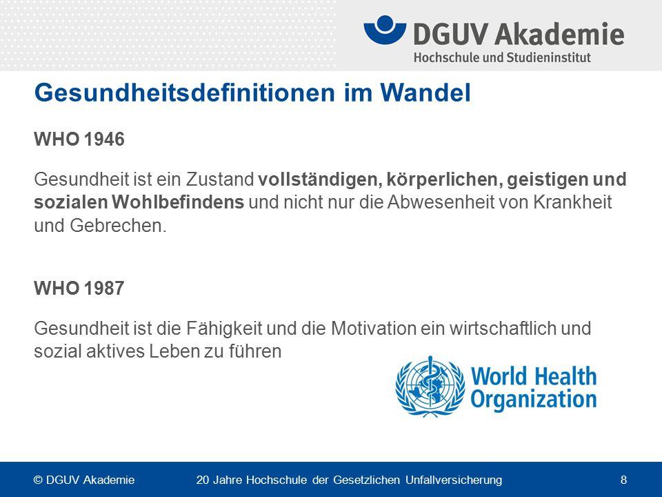 Gesundheitliche Einflussfaktoren © DGUV Akademie 20 Jahre Hochschule der Gesetzlichen Unfallversicherung 9