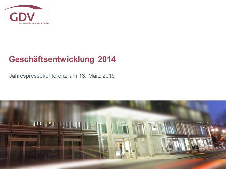Sehr zufriedenstellendes Geschäftsjahr 2014 2 * vorläufiges Ergebnis 2014 BeitragseinnahmenVeränderung Lebensversicherung (inkl.