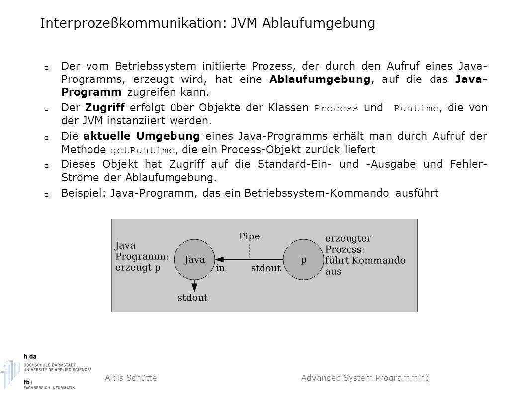 Alois Schütte Advanced System Programming Interprozeßkommunikation: JVM Ablaufumgebung  Der vom Betriebssystem initiierte Prozess, der durch den Aufruf eines Java- Programms, erzeugt wird, hat eine Ablaufumgebung, auf die das Java- Programm zugreifen kann.