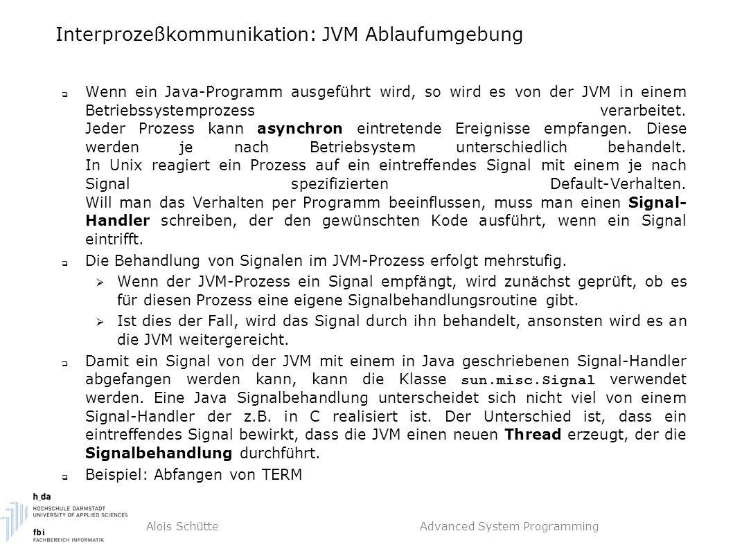 Alois Schütte Advanced System Programming Interprozeßkommunikation: JVM Ablaufumgebung  Wenn ein Java-Programm ausgeführt wird, so wird es von der JVM in einem Betriebssystemprozess verarbeitet.