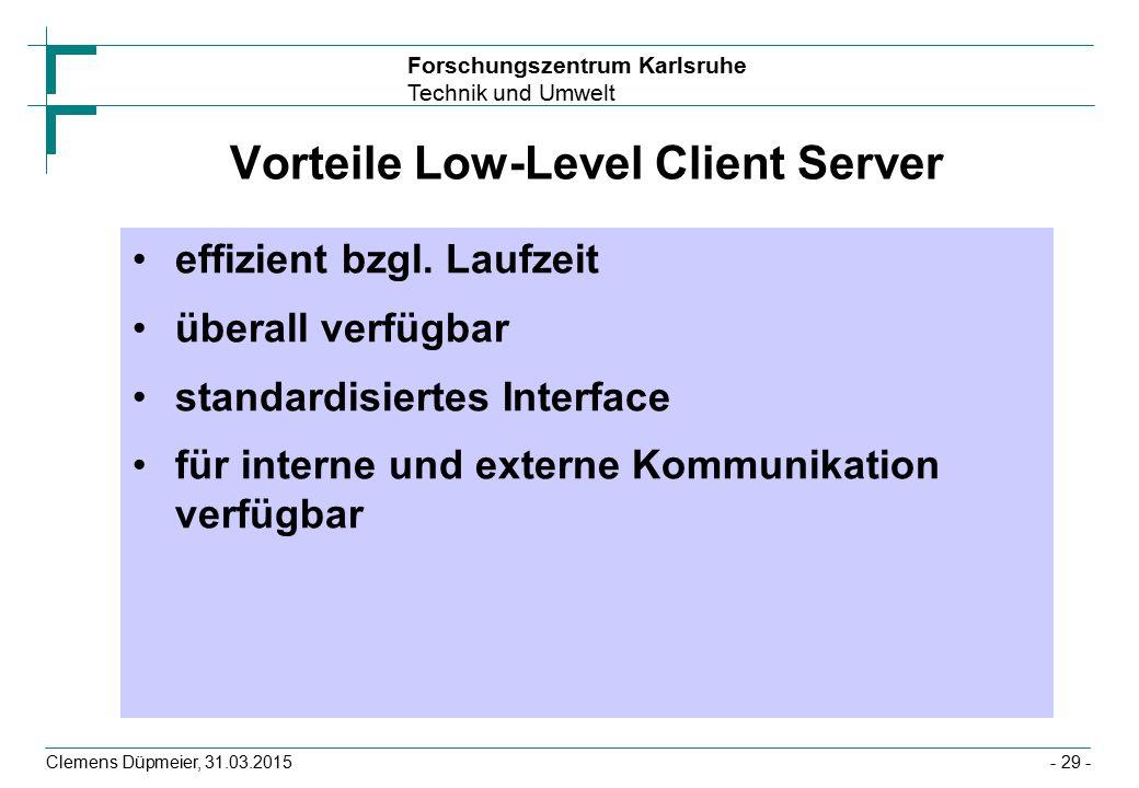 Forschungszentrum Karlsruhe Technik und Umwelt Clemens Düpmeier, 31.03.2015- 29 - Vorteile Low-Level Client Server effizient bzgl.