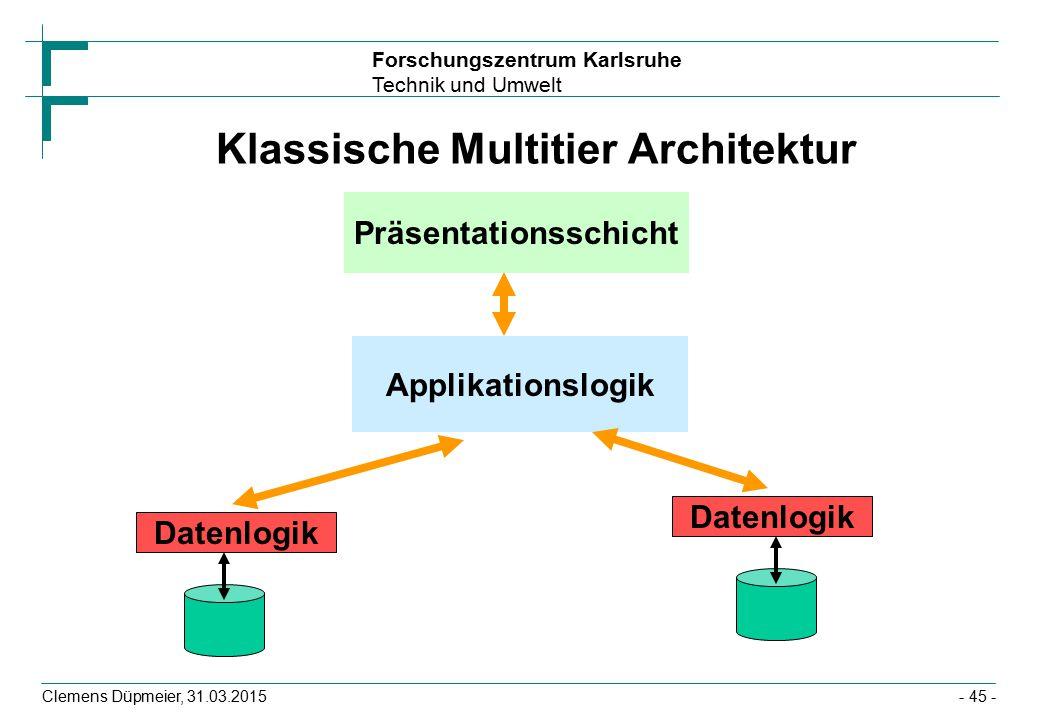 Forschungszentrum Karlsruhe Technik und Umwelt Clemens Düpmeier, 31.03.2015- 45 - Klassische Multitier Architektur Präsentationsschicht Applikationslogik Datenlogik