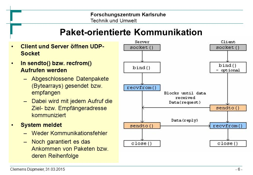 Forschungszentrum Karlsruhe Technik und Umwelt Clemens Düpmeier, 31.03.2015- 27 - Beispiel UDPClient public class UDPClient { public static void main(String args[]) throws Exception { DatagramPacket packet; DatagramSocket dSocket = new DatagramSocket(); InetAddress serverAddress=InetAddress.getByName( ServerName ); while (true) { String s = new Date().toString(); packet = new DatagramPacket(s.getBytes(), s.length(), serverAddress, 4711); dSocket.send(packet); System.out.println( Paket + packet + abgeschickt ); Thread.sleep(1000); }
