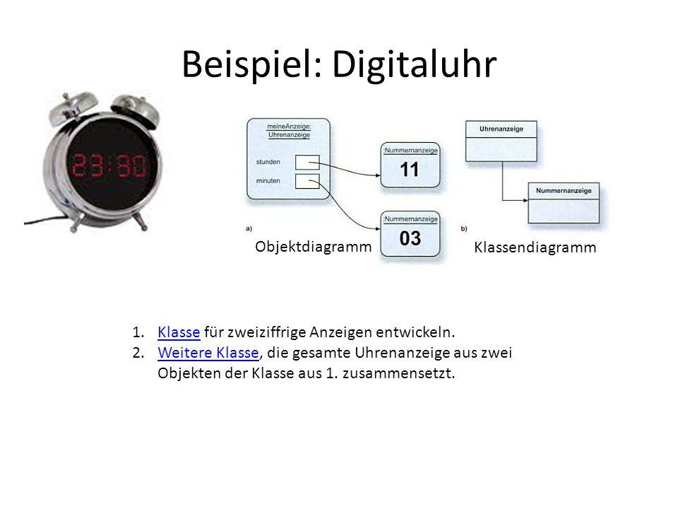 Beispiel: Digitaluhr 1.Klasse für zweiziffrige Anzeigen entwickeln.Klasse 2.Weitere Klasse, die gesamte Uhrenanzeige aus zwei Objekten der Klasse aus