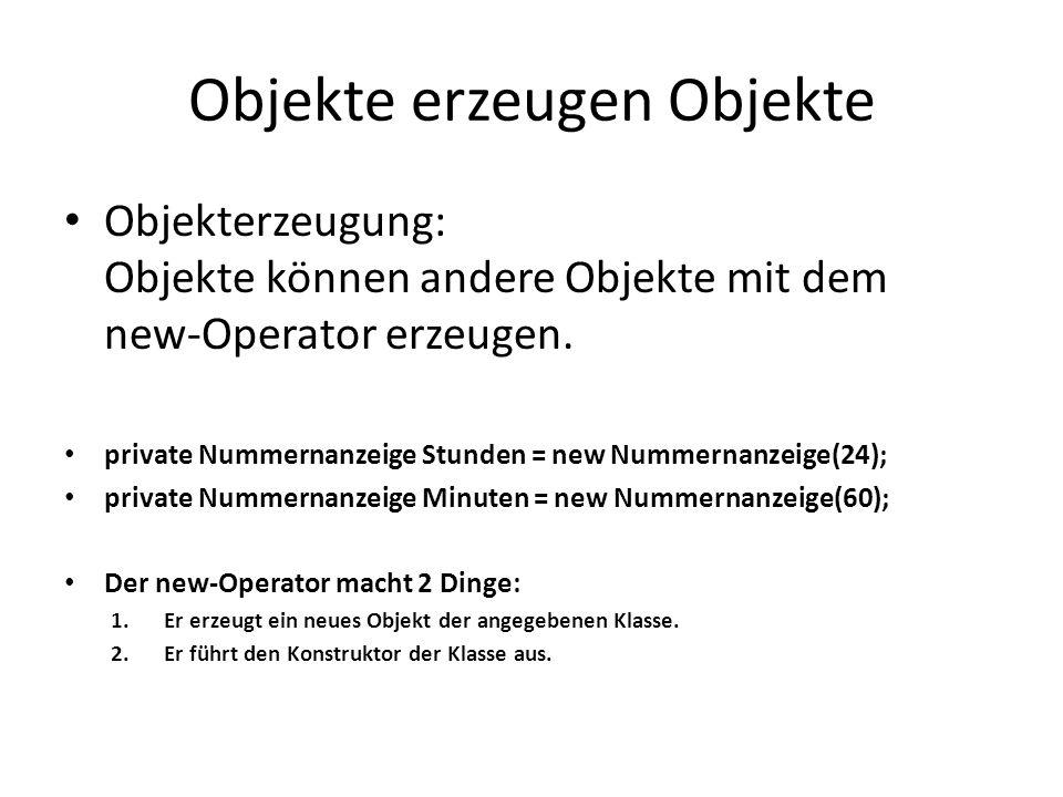 Objekte erzeugen Objekte Objekterzeugung: Objekte können andere Objekte mit dem new-Operator erzeugen. private Nummernanzeige Stunden = new Nummernanz