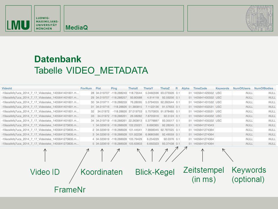 MediaQ Datenbank Tabelle VIDEO_METADATA Video IDBlick-Kegel Keywords (optional) Koordinaten Zeitstempel (in ms) FrameNr
