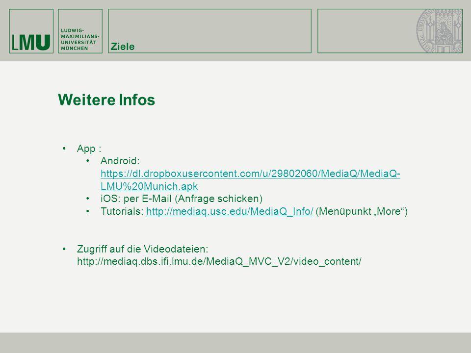 "Ziele Weitere Infos App : Android: https://dl.dropboxusercontent.com/u/29802060/MediaQ/MediaQ- LMU%20Munich.apk https://dl.dropboxusercontent.com/u/29802060/MediaQ/MediaQ- LMU%20Munich.apk iOS: per E-Mail (Anfrage schicken) Tutorials: http://mediaq.usc.edu/MediaQ_Info/ (Menüpunkt ""More )http://mediaq.usc.edu/MediaQ_Info/ Zugriff auf die Videodateien: http://mediaq.dbs.ifi.lmu.de/MediaQ_MVC_V2/video_content/"