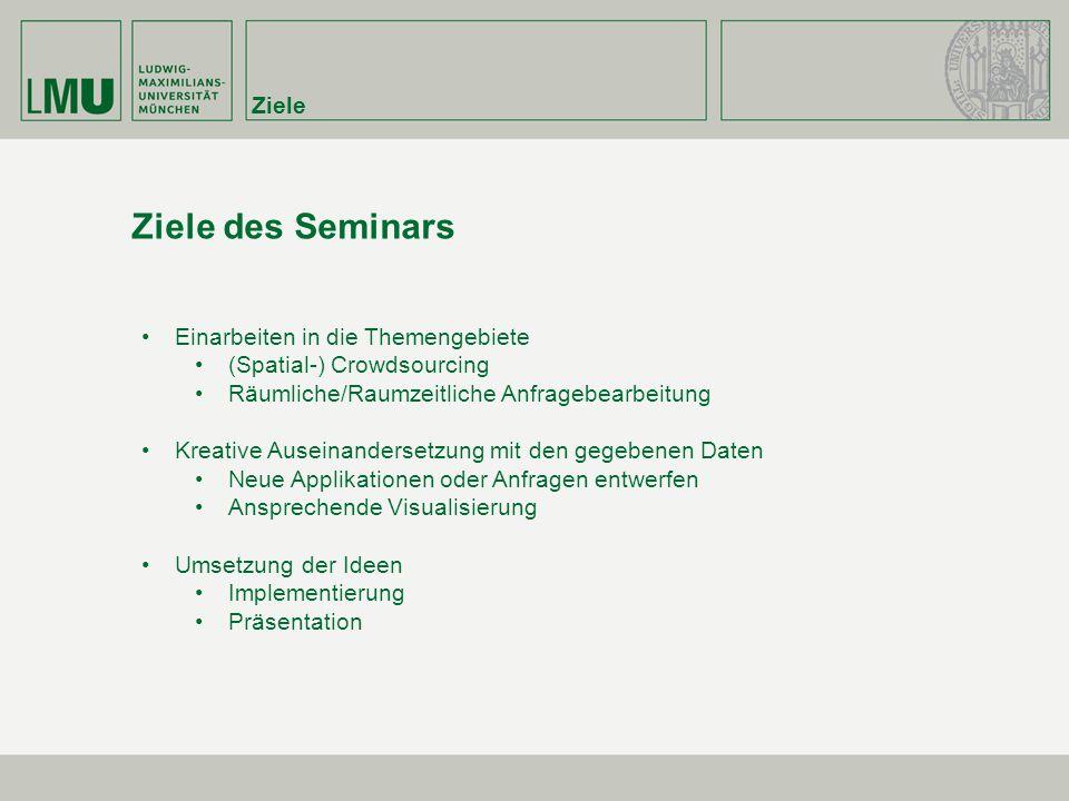 Ziele Ziele des Seminars Einarbeiten in die Themengebiete (Spatial-) Crowdsourcing Räumliche/Raumzeitliche Anfragebearbeitung Kreative Auseinandersetz