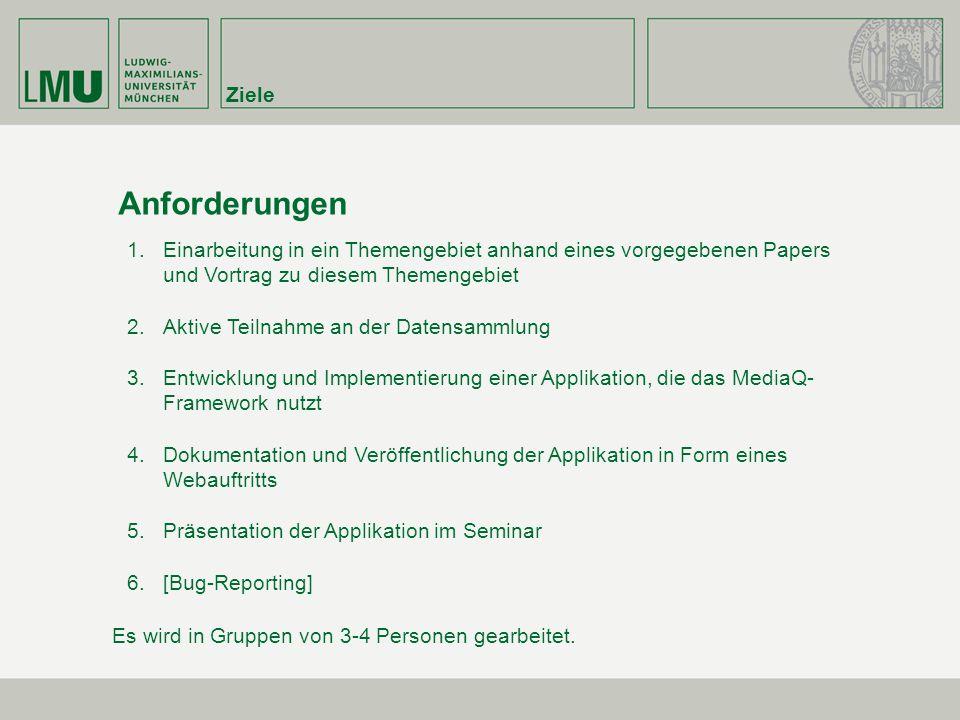Ziele Anforderungen 1.Einarbeitung in ein Themengebiet anhand eines vorgegebenen Papers und Vortrag zu diesem Themengebiet 2.Aktive Teilnahme an der D