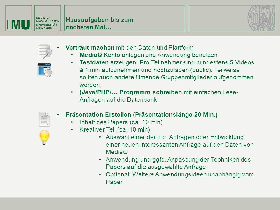 Hausaufgaben bis zum nächsten Mal… Vertraut machen mit den Daten und Plattform MediaQ Konto anlegen und Anwendung benutzen Testdaten erzeugen: Pro Tei
