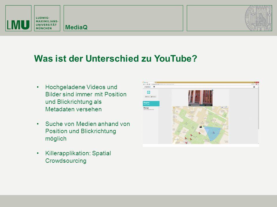 MediaQ Was ist der Unterschied zu YouTube? Hochgeladene Videos und Bilder sind immer mit Position und Blickrichtung als Metadaten versehen Suche von M
