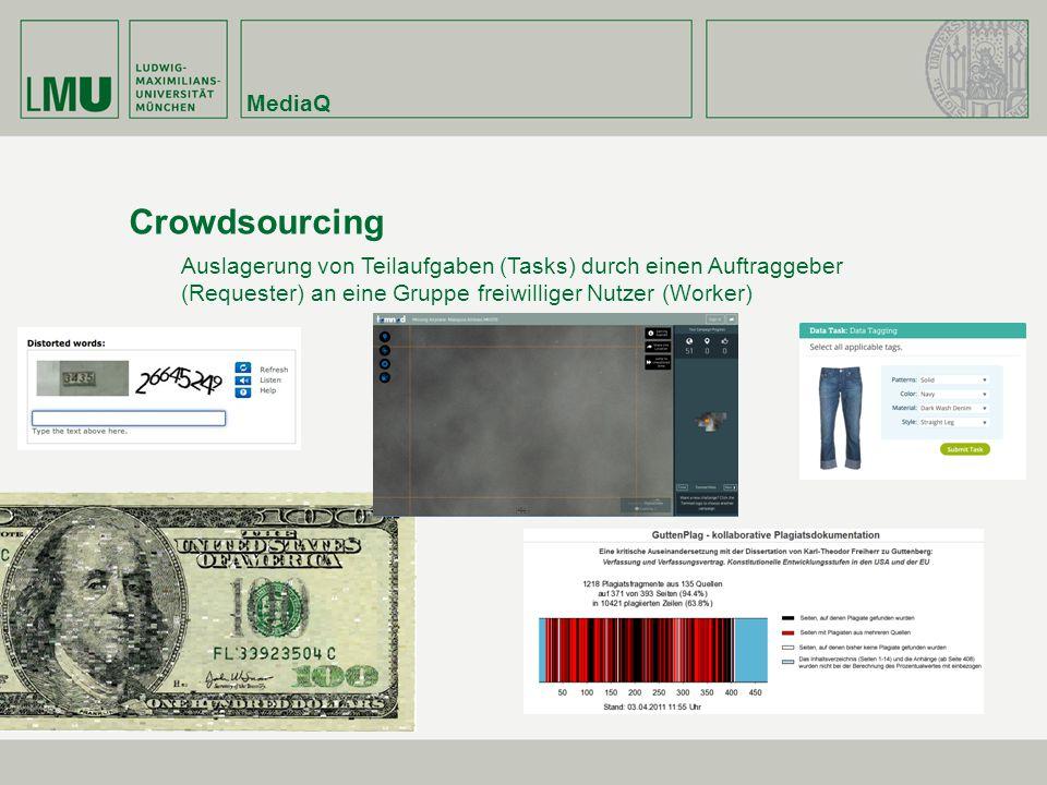 MediaQ Crowdsourcing Auslagerung von Teilaufgaben (Tasks) durch einen Auftraggeber (Requester) an eine Gruppe freiwilliger Nutzer (Worker)