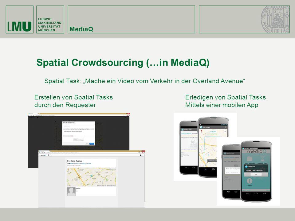 Spatial Crowdsourcing (…in MediaQ) Erstellen von Spatial Tasks durch den Requester Erledigen von Spatial Tasks Mittels einer mobilen App Spatial Task: