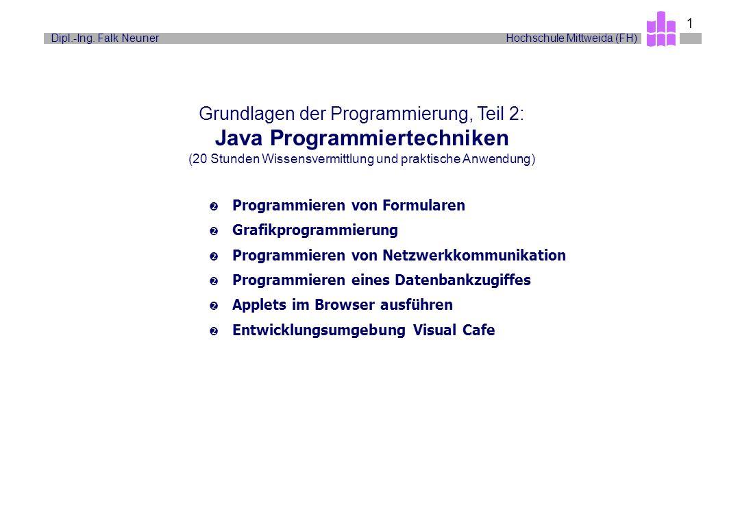 Hochschule Mittweida (FH)Dipl.-Ing. Falk Neuner 1  Programmieren von Formularen  Grafikprogrammierung  Programmieren von Netzwerkkommunikation  Pr
