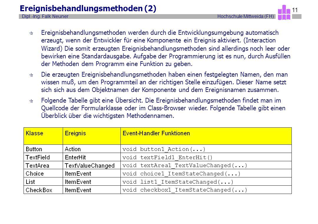 Hochschule Mittweida (FH)Dipl.-Ing. Falk Neuner 11 Ereignisbehandlungsmethoden (2) ¶ Ereignisbehandlungsmethoden werden durch die Entwicklungsumgebung