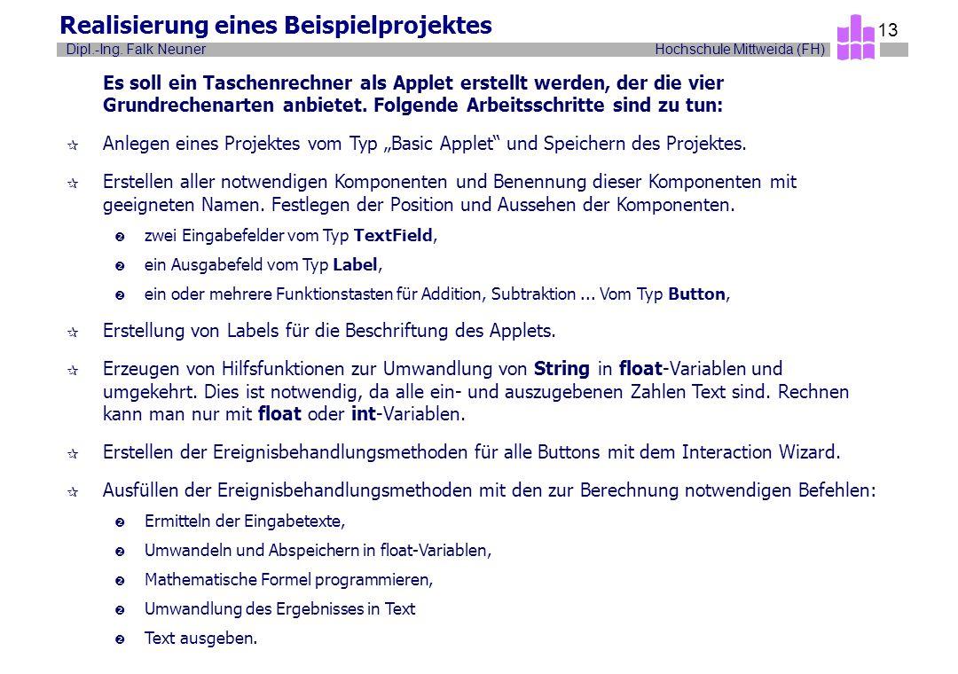 Hochschule Mittweida (FH)Dipl.-Ing. Falk Neuner 13 Realisierung eines Beispielprojektes Es soll ein Taschenrechner als Applet erstellt werden, der die