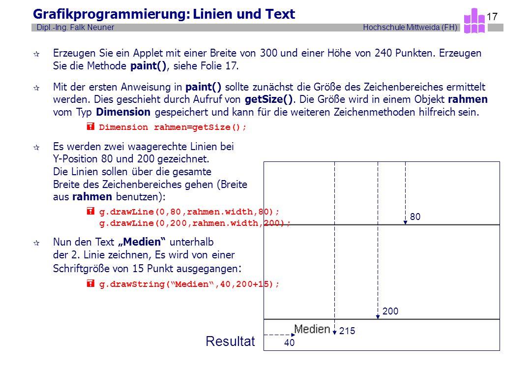 Hochschule Mittweida (FH)Dipl.-Ing. Falk Neuner 17 Grafikprogrammierung: Linien und Text ¶ Erzeugen Sie ein Applet mit einer Breite von 300 und einer