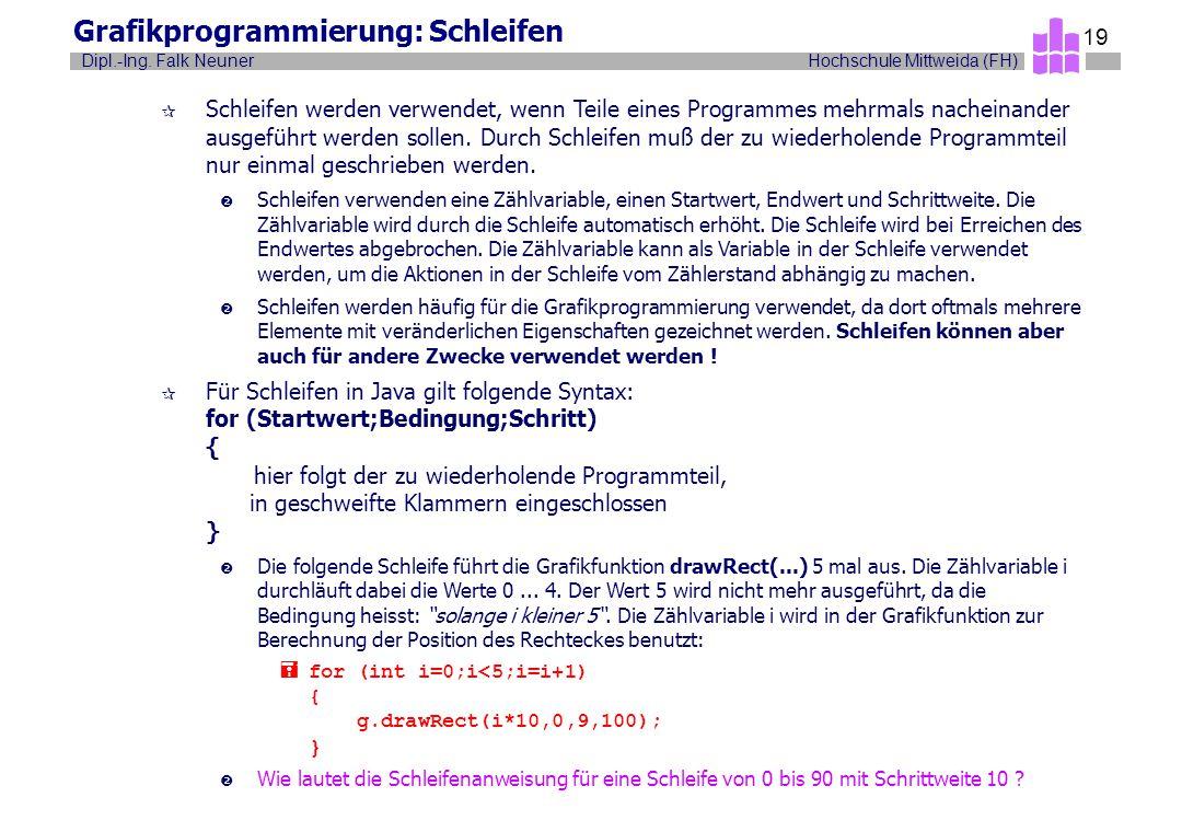 Hochschule Mittweida (FH)Dipl.-Ing. Falk Neuner 19 Grafikprogrammierung: Schleifen ¶ Schleifen werden verwendet, wenn Teile eines Programmes mehrmals