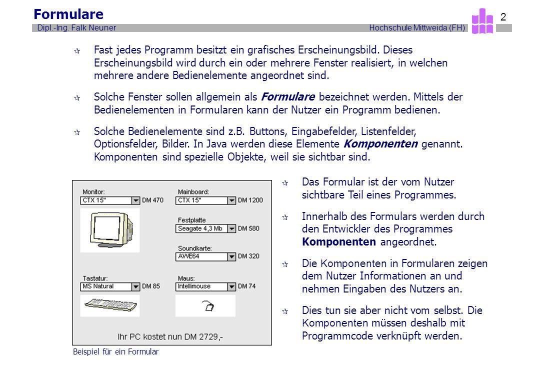 Hochschule Mittweida (FH)Dipl.-Ing. Falk Neuner 2 Formulare ¶ Fast jedes Programm besitzt ein grafisches Erscheinungsbild. Dieses Erscheinungsbild wir