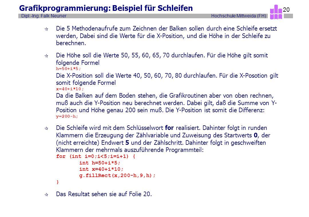 Hochschule Mittweida (FH)Dipl.-Ing. Falk Neuner 20 Grafikprogrammierung: Beispiel für Schleifen ¶ Die 5 Methodenaufrufe zum Zeichnen der Balken sollen