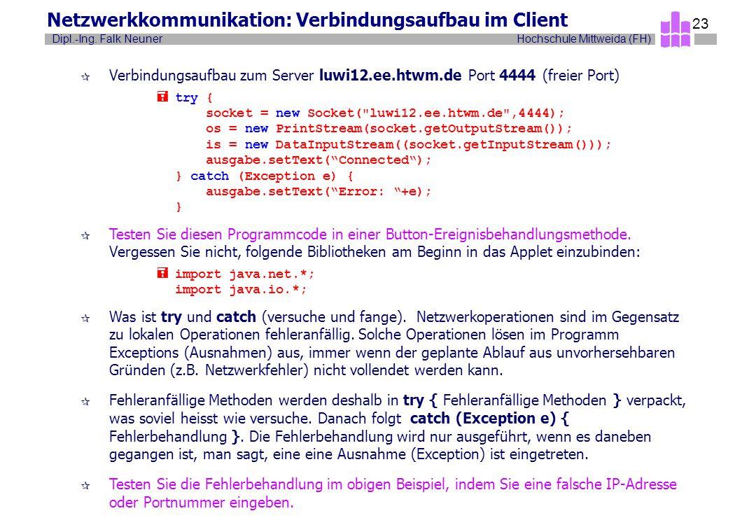 Hochschule Mittweida (FH)Dipl.-Ing. Falk Neuner 23 Netzwerkkommunikation: Verbindungsaufbau im Client ¶ Verbindungsaufbau zum Server luwi12.ee.htwm.de