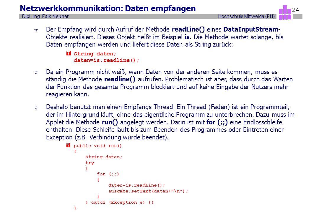 Hochschule Mittweida (FH)Dipl.-Ing. Falk Neuner 24 Netzwerkkommunikation: Daten empfangen ¶ Der Empfang wird durch Aufruf der Methode readLine() eines