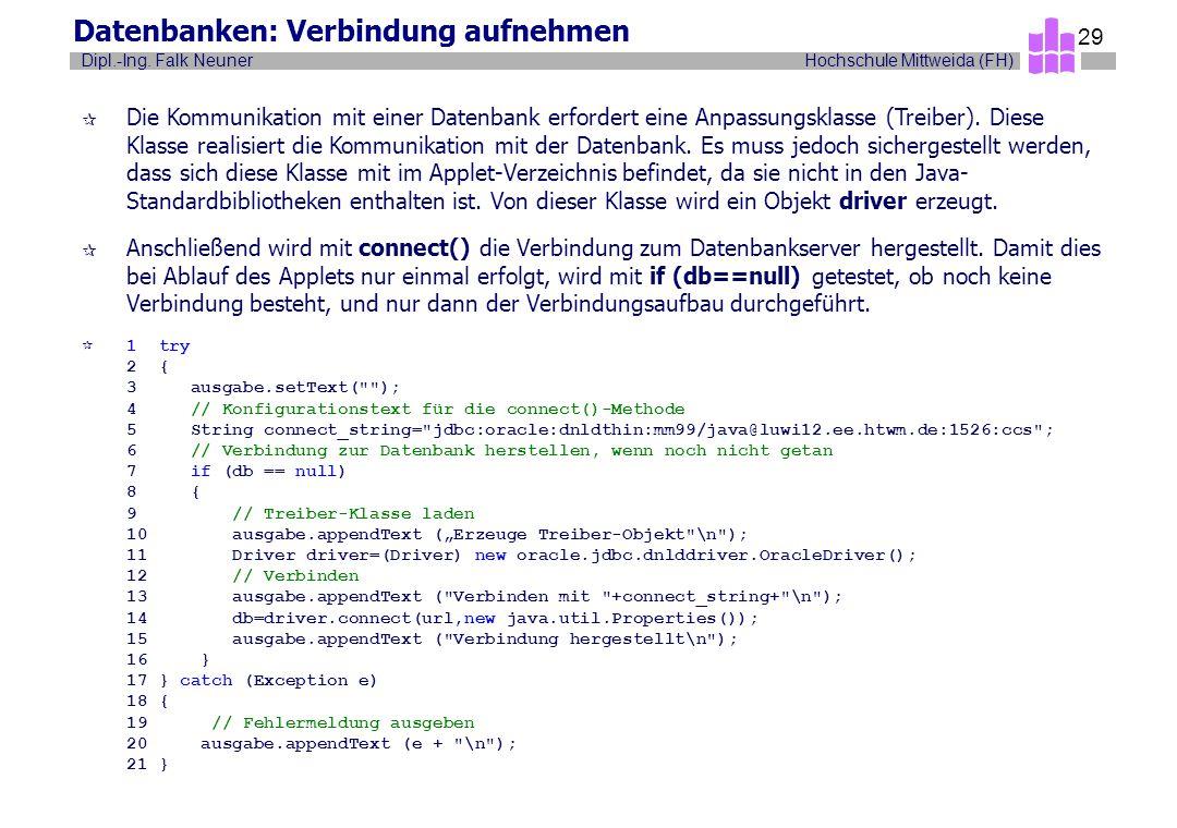 Hochschule Mittweida (FH)Dipl.-Ing. Falk Neuner 29 Datenbanken: Verbindung aufnehmen ¶ Die Kommunikation mit einer Datenbank erfordert eine Anpassungs