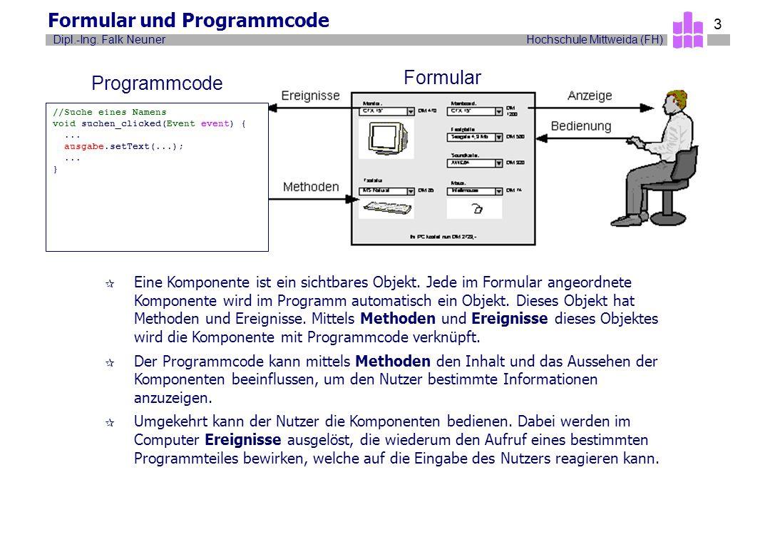 Hochschule Mittweida (FH)Dipl.-Ing. Falk Neuner 3 Formular und Programmcode ¶ Eine Komponente ist ein sichtbares Objekt. Jede im Formular angeordnete