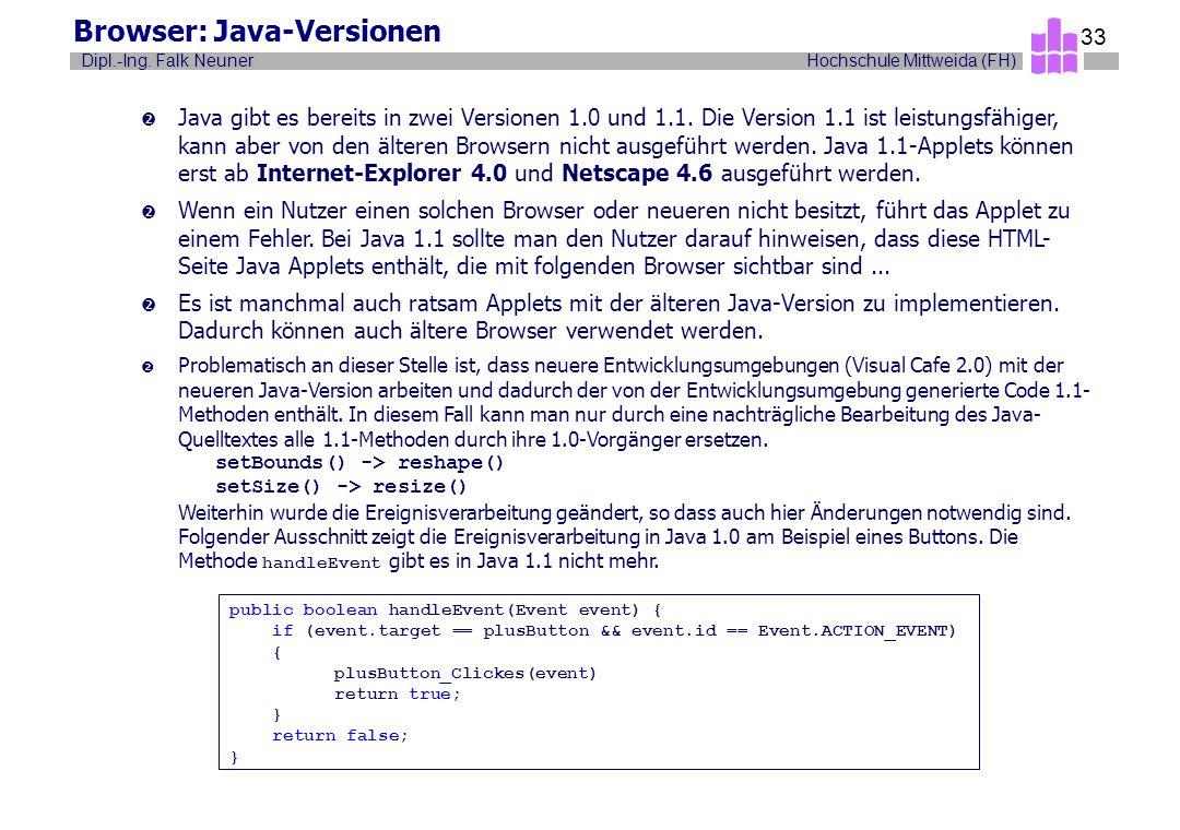 Hochschule Mittweida (FH)Dipl.-Ing. Falk Neuner 33 Browser: Java-Versionen  Java gibt es bereits in zwei Versionen 1.0 und 1.1. Die Version 1.1 ist l
