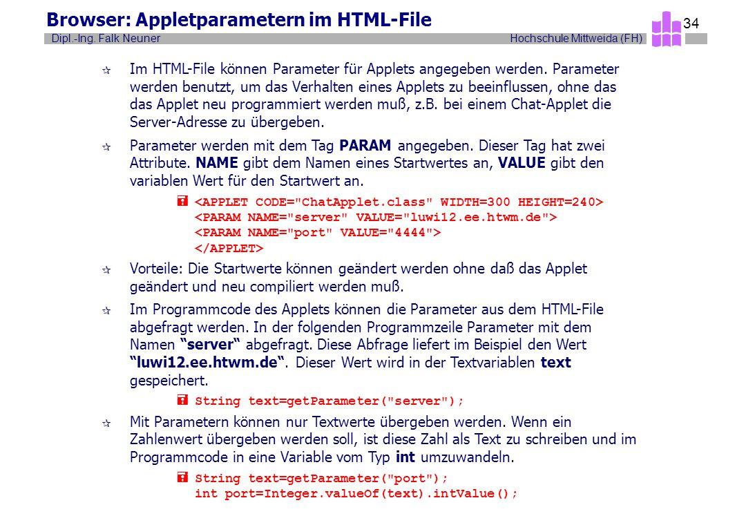 Hochschule Mittweida (FH)Dipl.-Ing. Falk Neuner 34 Browser: Appletparametern im HTML-File ¶ Im HTML-File können Parameter für Applets angegeben werden