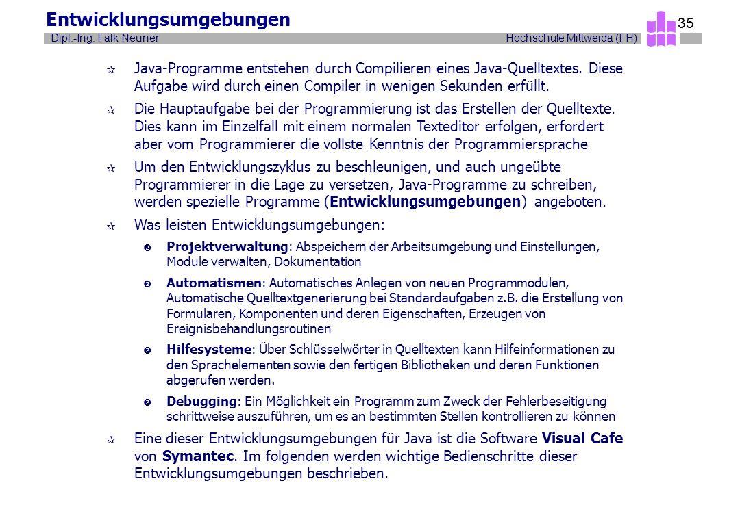 Hochschule Mittweida (FH)Dipl.-Ing. Falk Neuner 35 Entwicklungsumgebungen ¶ Java-Programme entstehen durch Compilieren eines Java-Quelltextes. Diese A