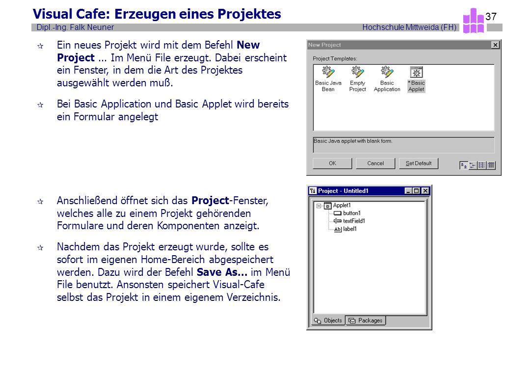 Hochschule Mittweida (FH)Dipl.-Ing. Falk Neuner 37 Visual Cafe: Erzeugen eines Projektes ¶ Ein neues Projekt wird mit dem Befehl New Project... Im Men